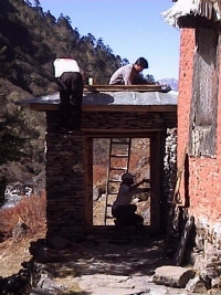 Working on the gompa gate